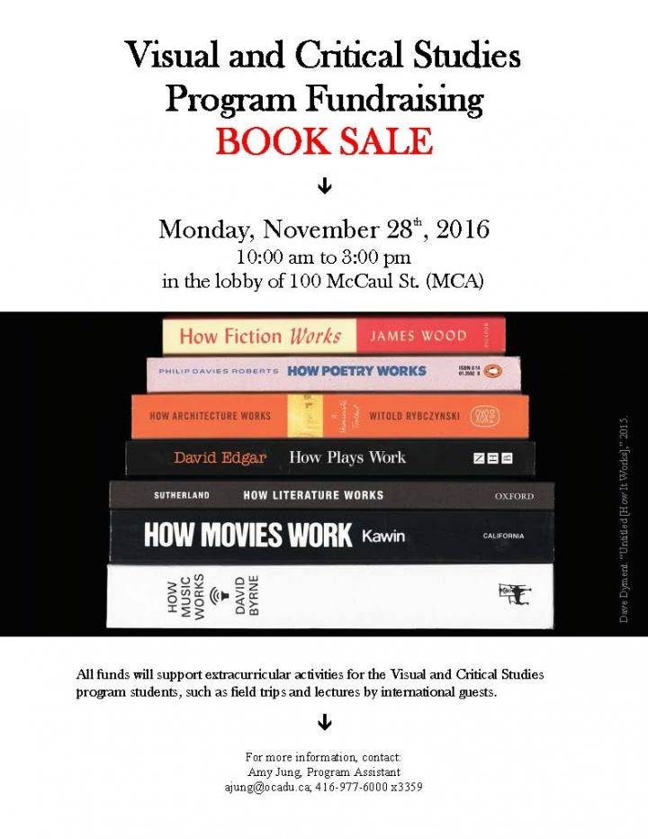 Poster for the Visual and Critical Studies Program Fundraising Book Sale