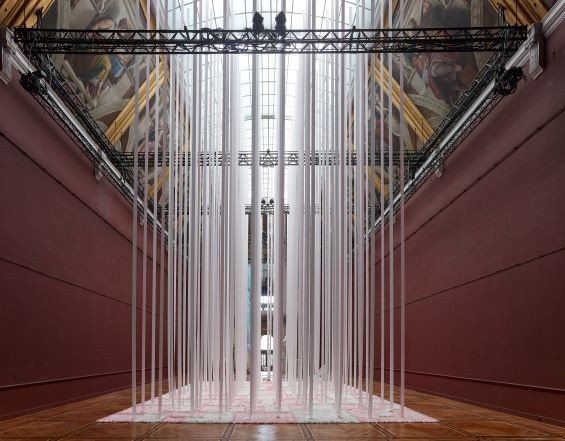 installation artwork, material suspended from ceiling