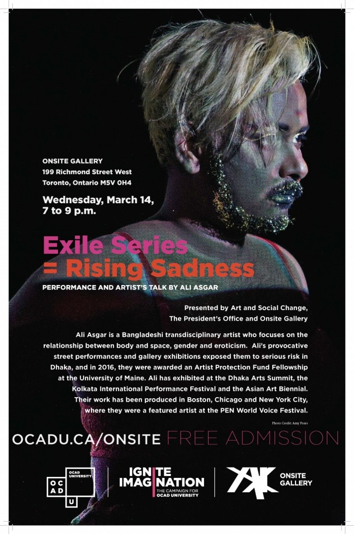 Exile Series = Rising Sadness - Performance and Artist's Talk by Ali Asgar