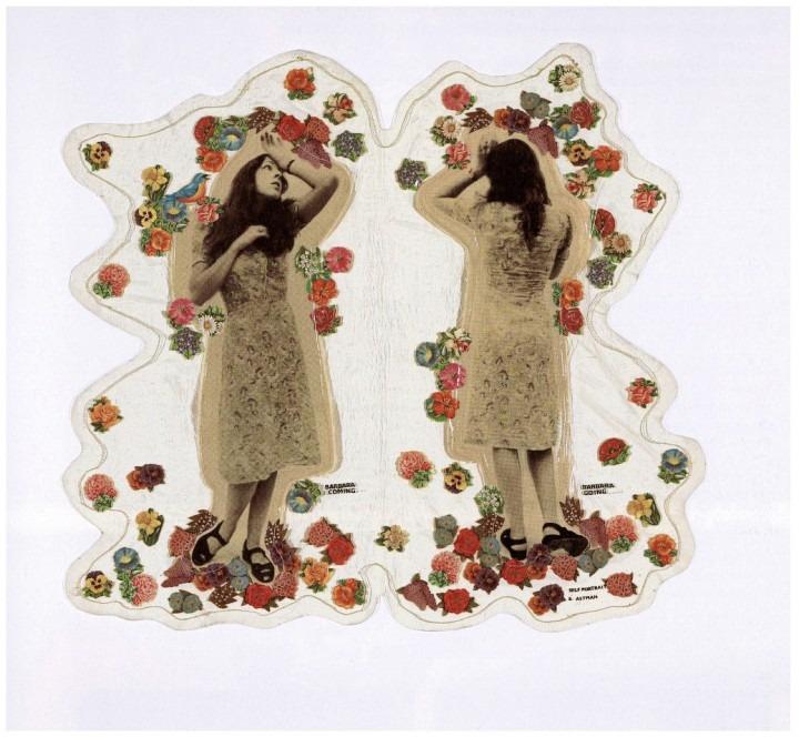 photo collage based piece, woman in dress front view, woman in dress back view, surrounded by flowers