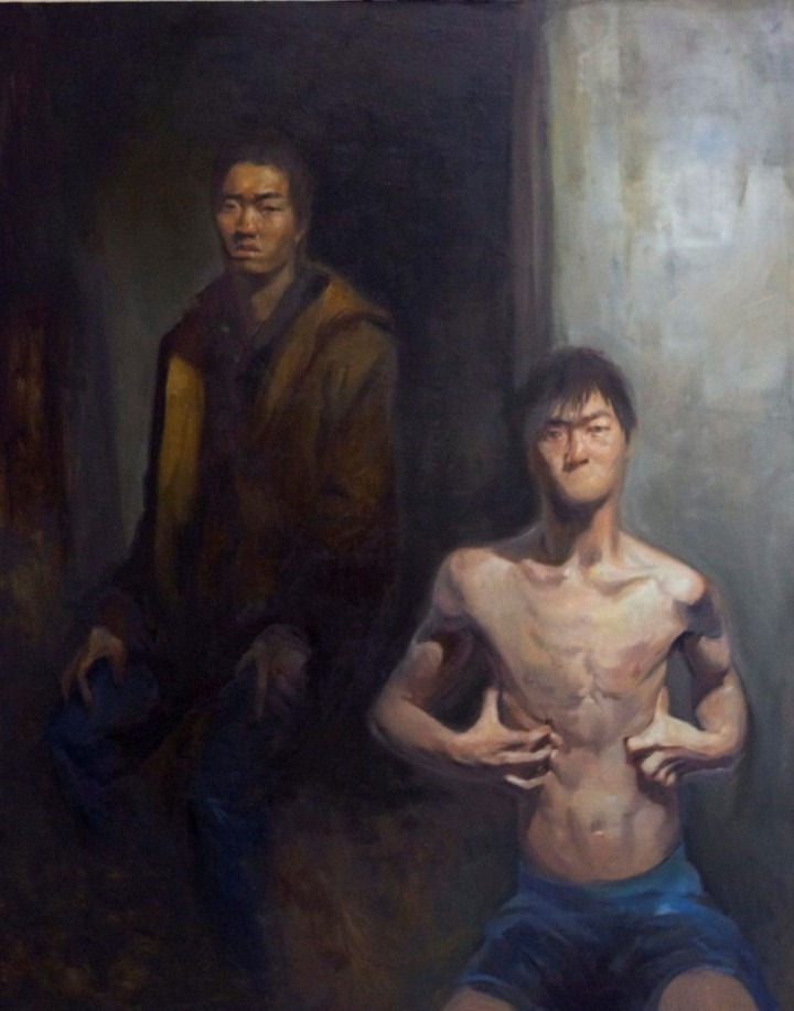 painting of man in front of painting of man
