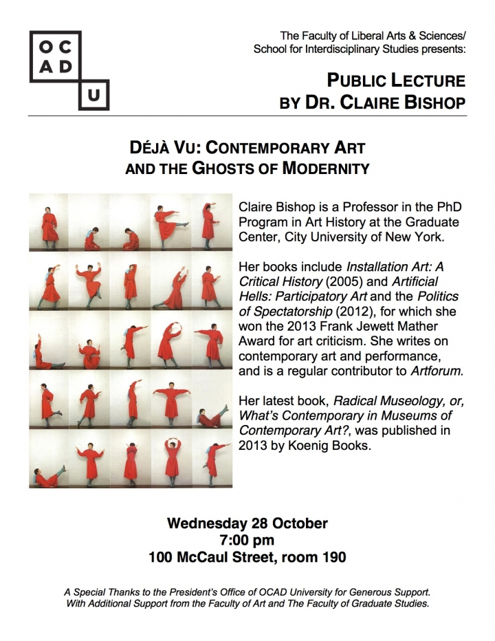 Public Lecture by Dr. Claire Bishop with event info, OCAD U logo and pictures of woman in orange garment in various poses