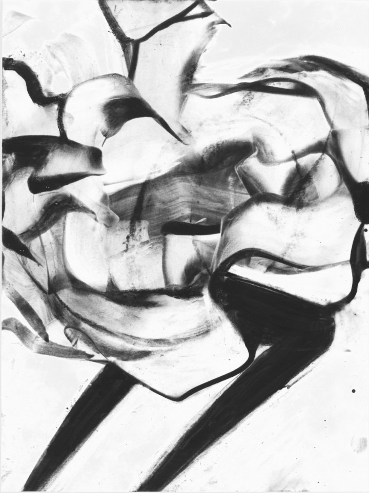 abstract figurative work, black on white