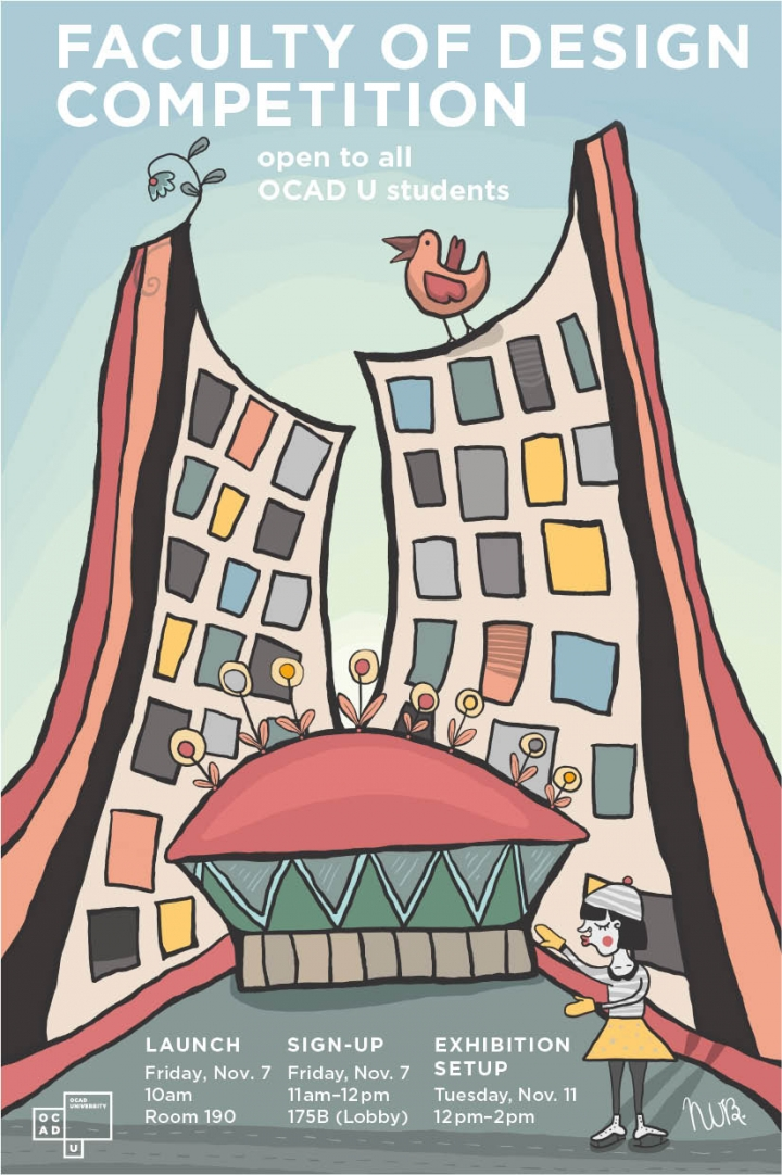 Faculty of Design Competition with event info and whimsical illustration of Toronto City Hall