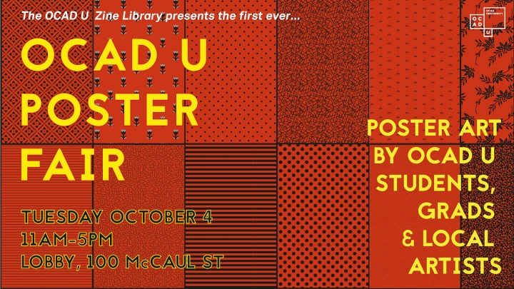 OCAD U Poster Fair poster with event info and rectangular series of red and black patterns