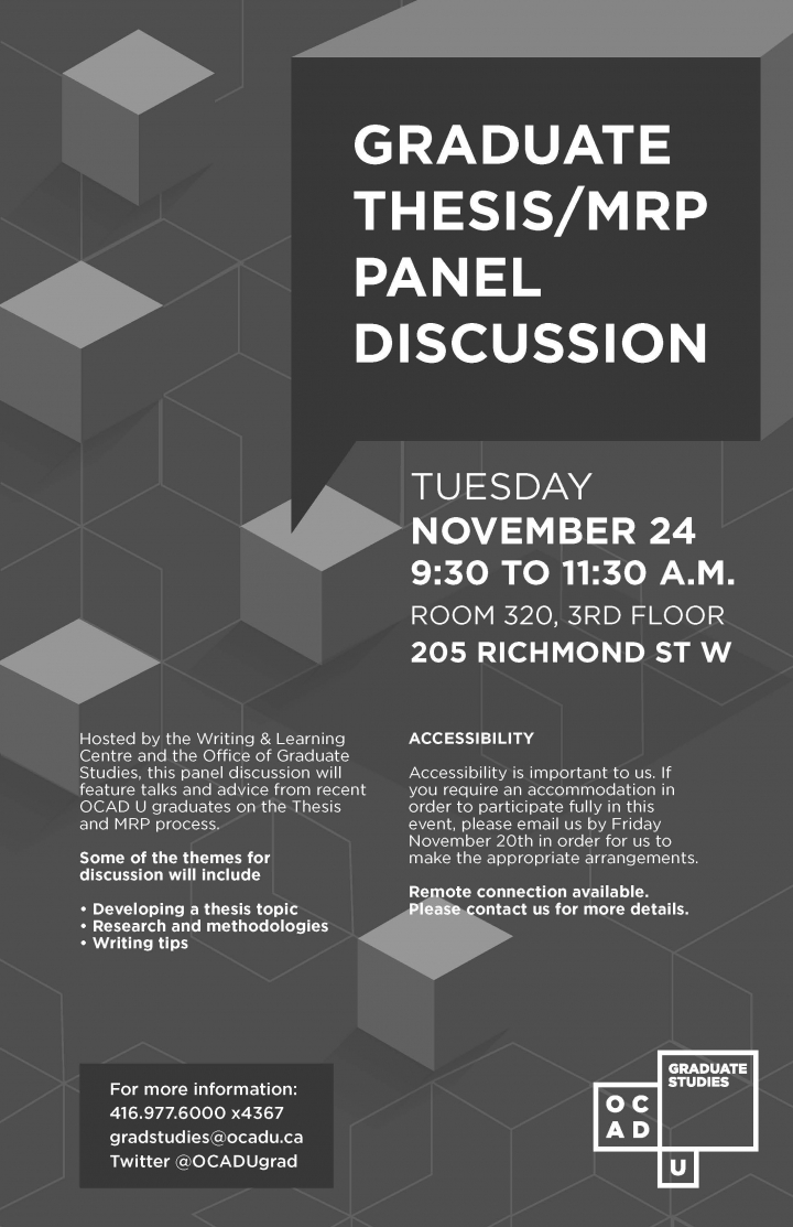 This panel discussion will feature talks and advice from recent OCAD U graduates