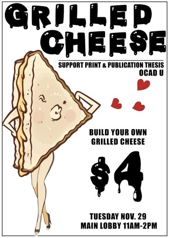 Build your own Grilled Cheese poster, Illustration of a grilled cheese with arms and legs posing
