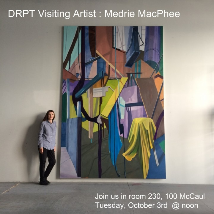 Woman standing alongside large abstract painting