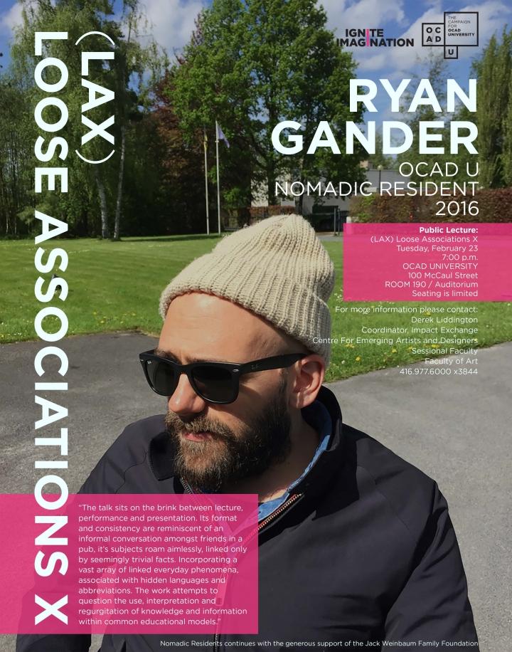 Poster for Ryan Gander Public Talk