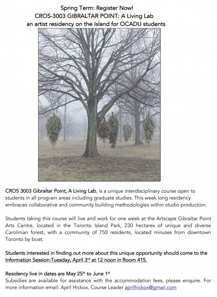 Poster with image of trees and info session details
