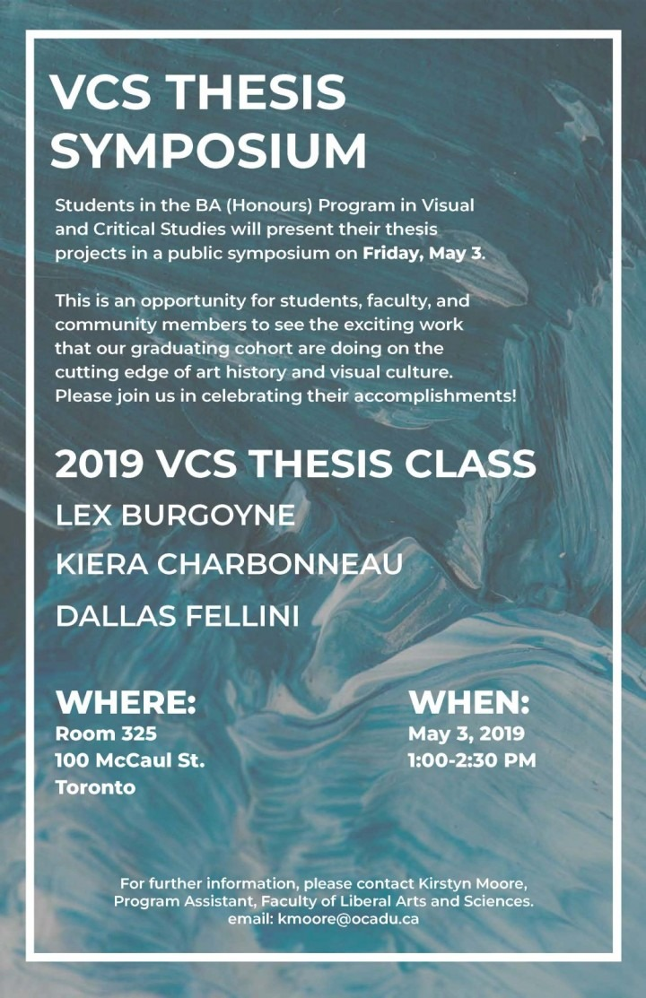 "White text ""VCS Symposium 2019"" on abstractly painted teal and blue background."