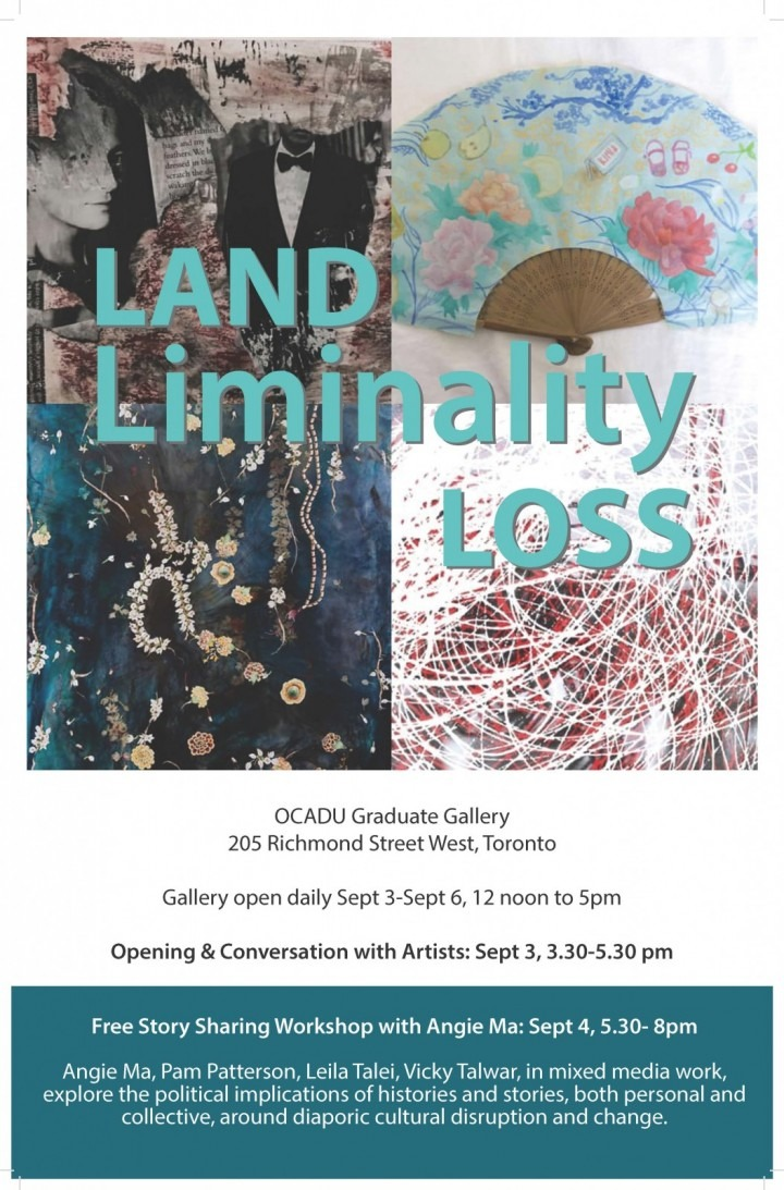 Land Liminality Loss poster featuring cropped mixed media painting and collage from each artist with show date and location
