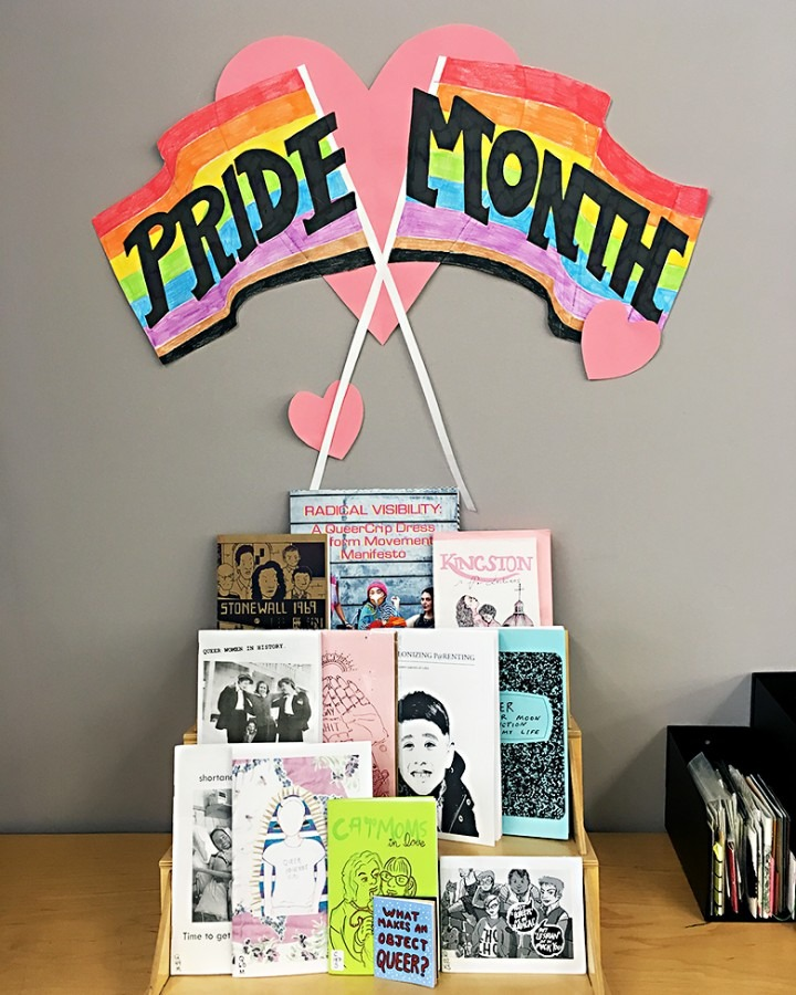 Photograph of Pride Month zine display and text