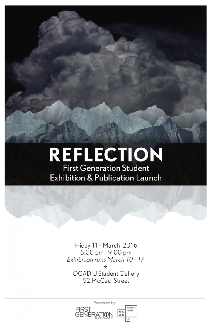 Reflection First Generation Student Exhibition & Publication Launch poster with event info