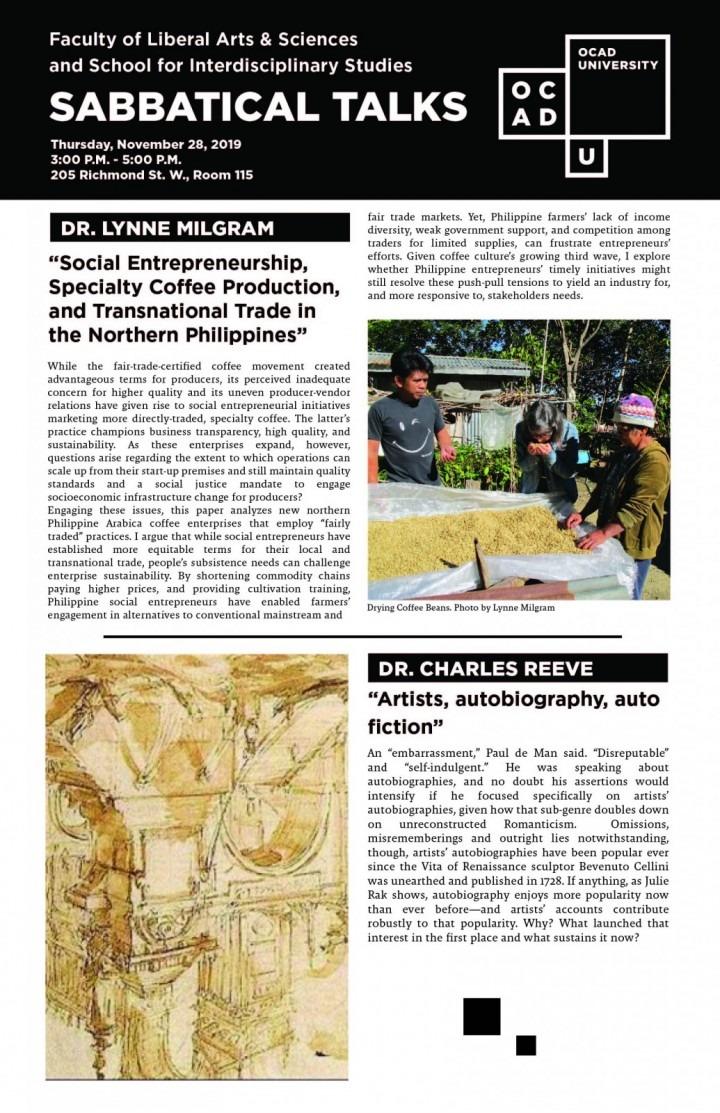 Poster for Sabbatical Talks: Dr. Lynne Migram and Dr. Charles Reeve