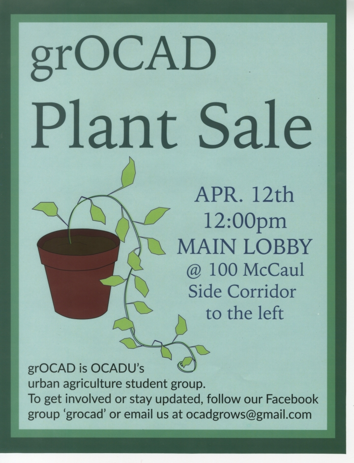 Poster with text and illustration of a plant in a pot.