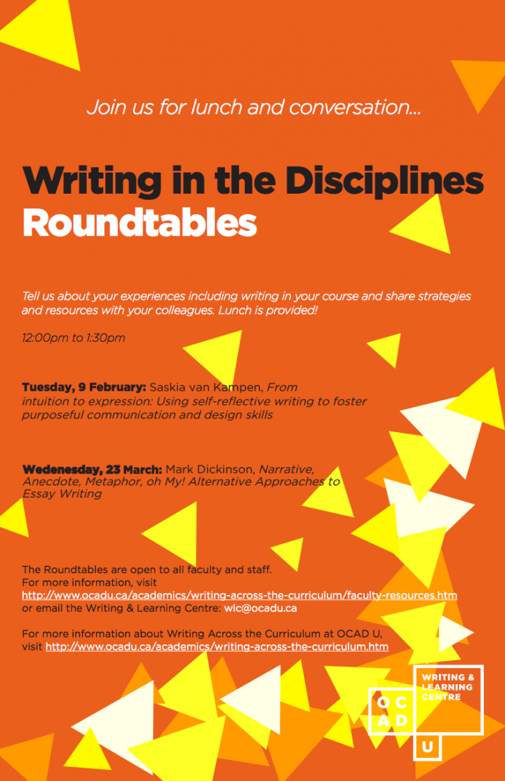 Writing in the Disciplines Roundtables poster with event info