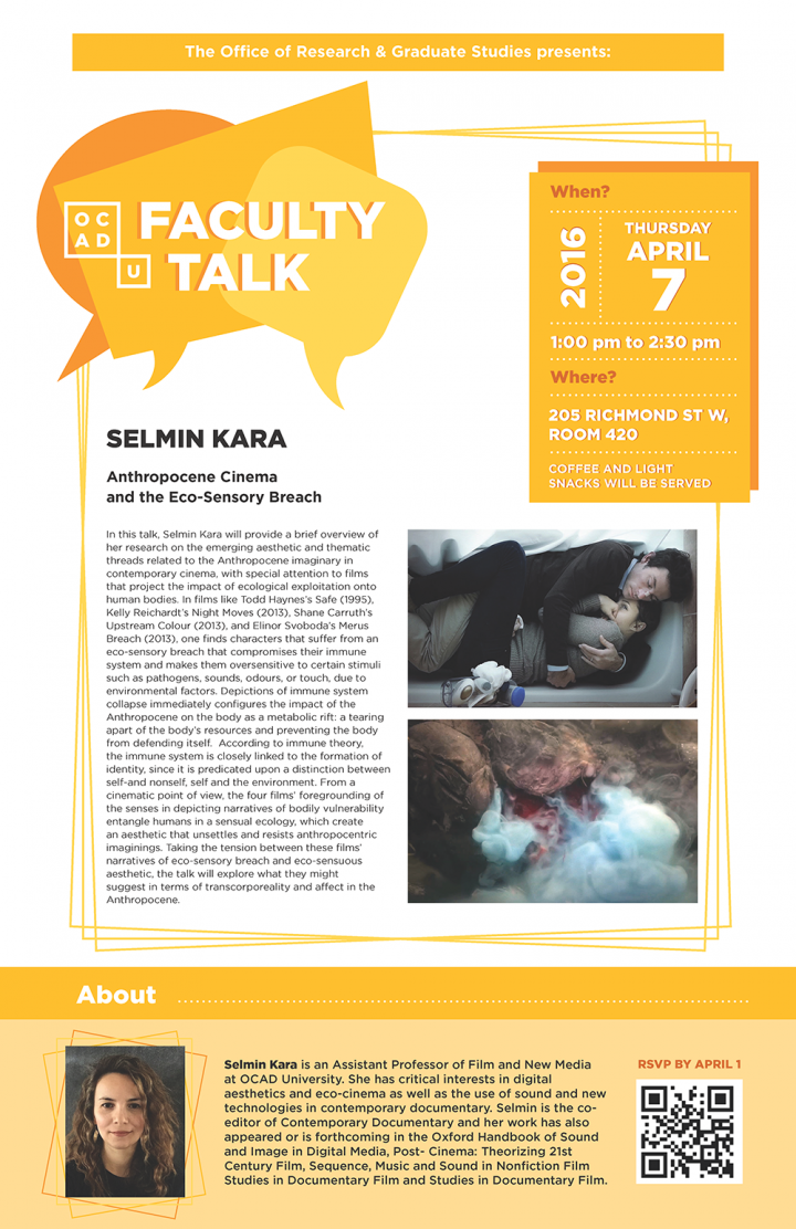 Faculty Talk poster with event info, biography of Selmin Kara and film stills