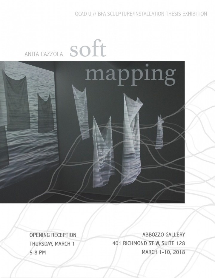poster of exhibition featuring black and white textile based installation artwork