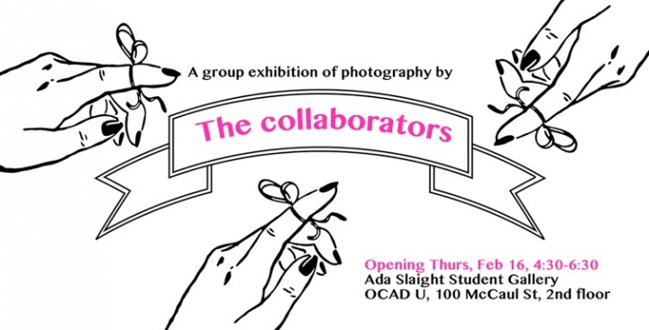 The Collaborators poster, line drawing of hand with string bow on finger.  Poster with text