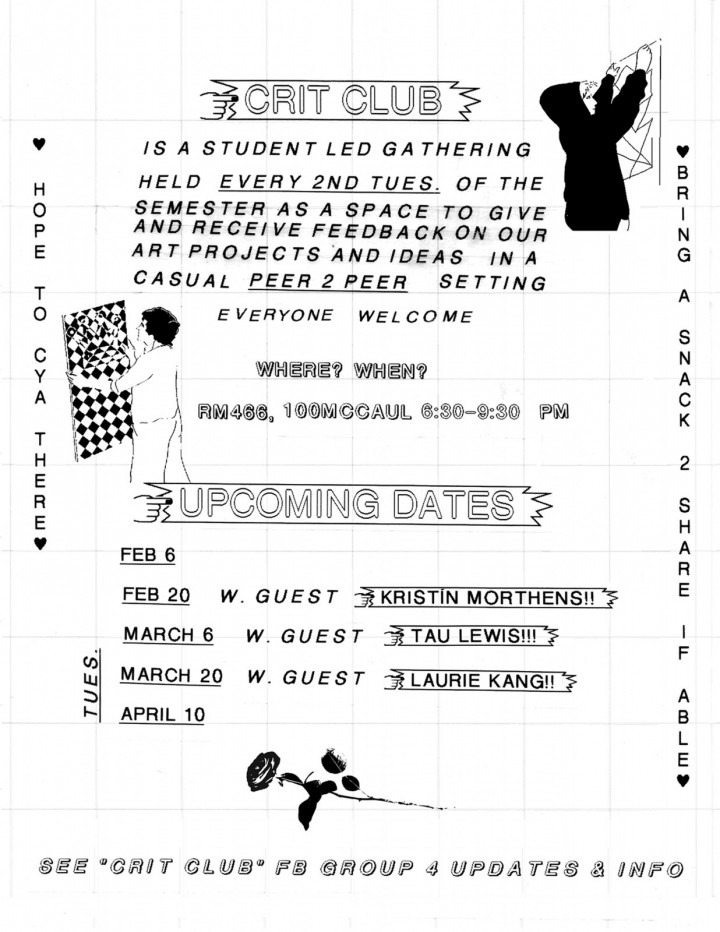 Critique Club poster, text on white background