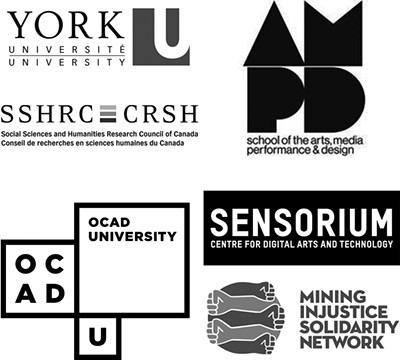 Sponsor logos for OCAD U, York U, SSHRC/CRSH, AMPD, Sensorium, Mining Injustice Solidarity Network