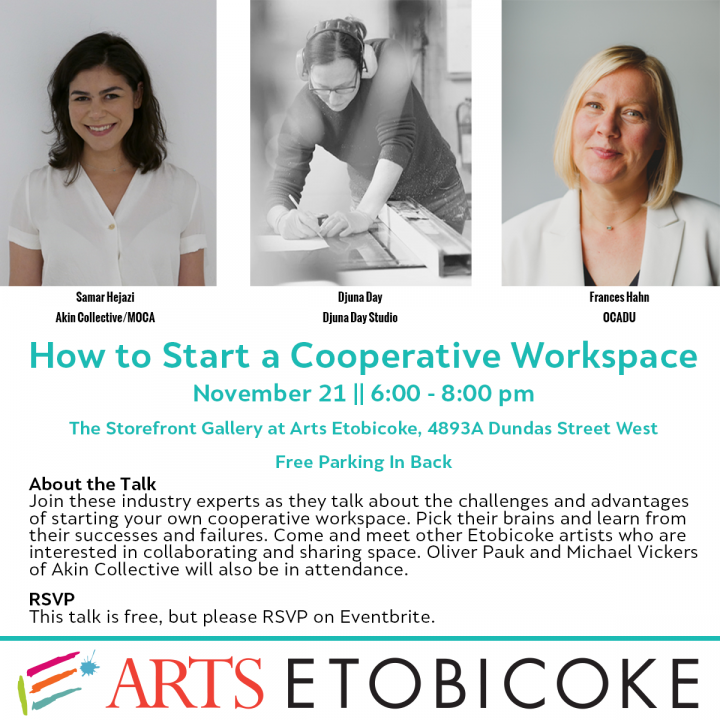 HOW TO START A COOPERATIVE WORKSPACEposter with photo of experts