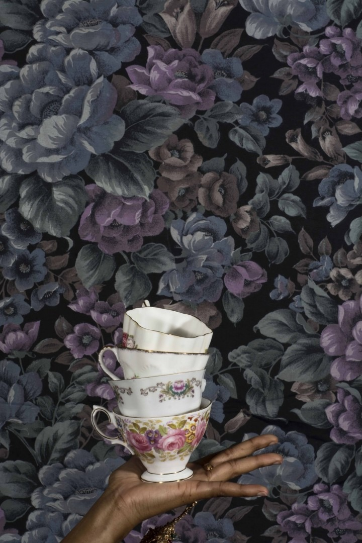 teacups with floral background