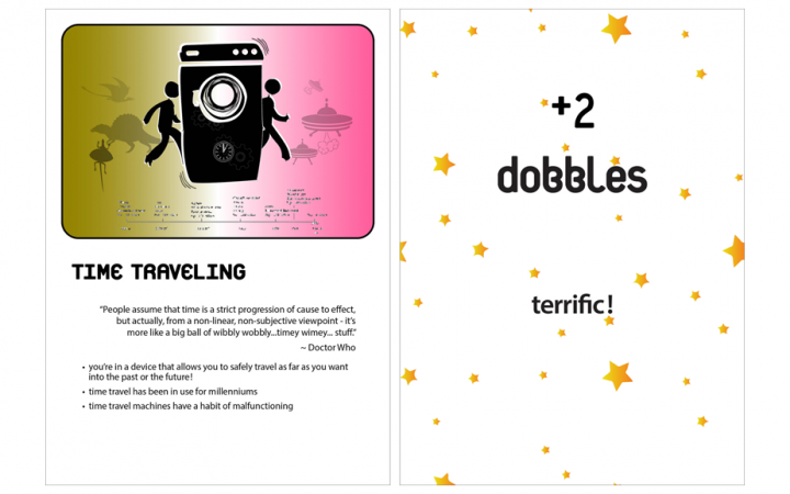 A photograph of the front and back of a Dobble Debate game card