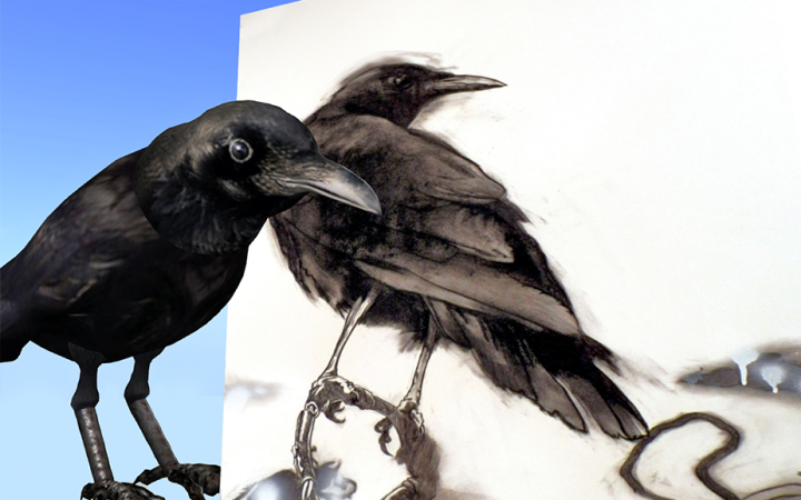"Screen capture from ""One for Sorrow"" environment. A digitally drawn crow stands in front of a charcoal drawing of a crow."