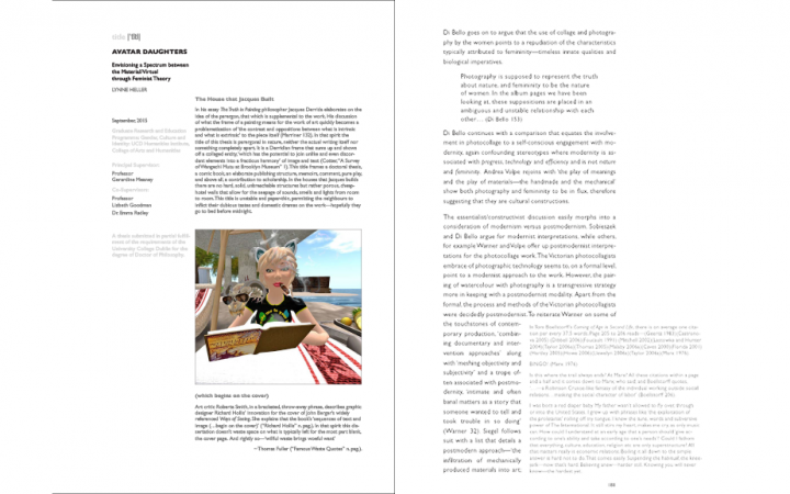 Image of a spread from Lynne Heller's PHD thesis, including a graphic of her avatar Nar Duell