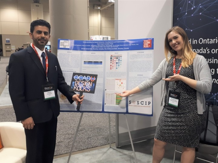 Photograph of Ahmad Karawash and Sana Shepko attending Discovery 2018 conference to present research.