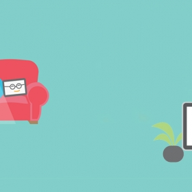 "Illustration of a tablet with glasses sitting on a chair next to furniture and computer monitor saying ""Let's do this!"""