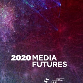 2020 Media Futures: Cover Image featuring title in white font on a purple background with OCADU and sLab logos