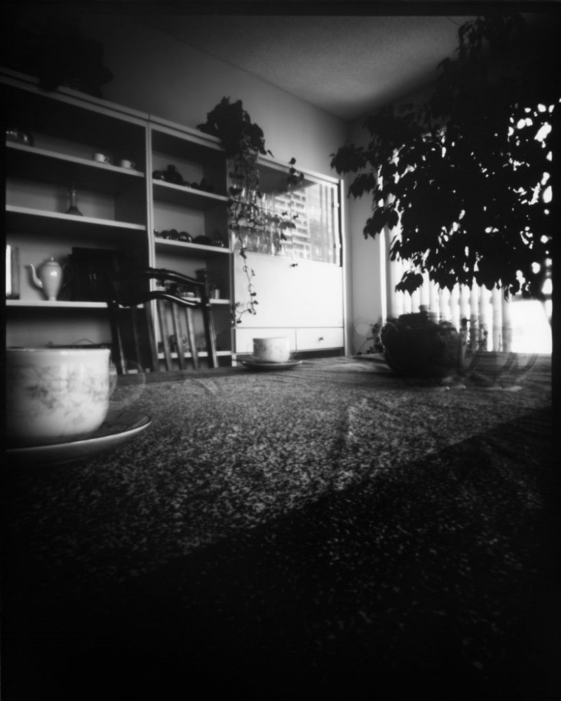 Black and white photo of an interior