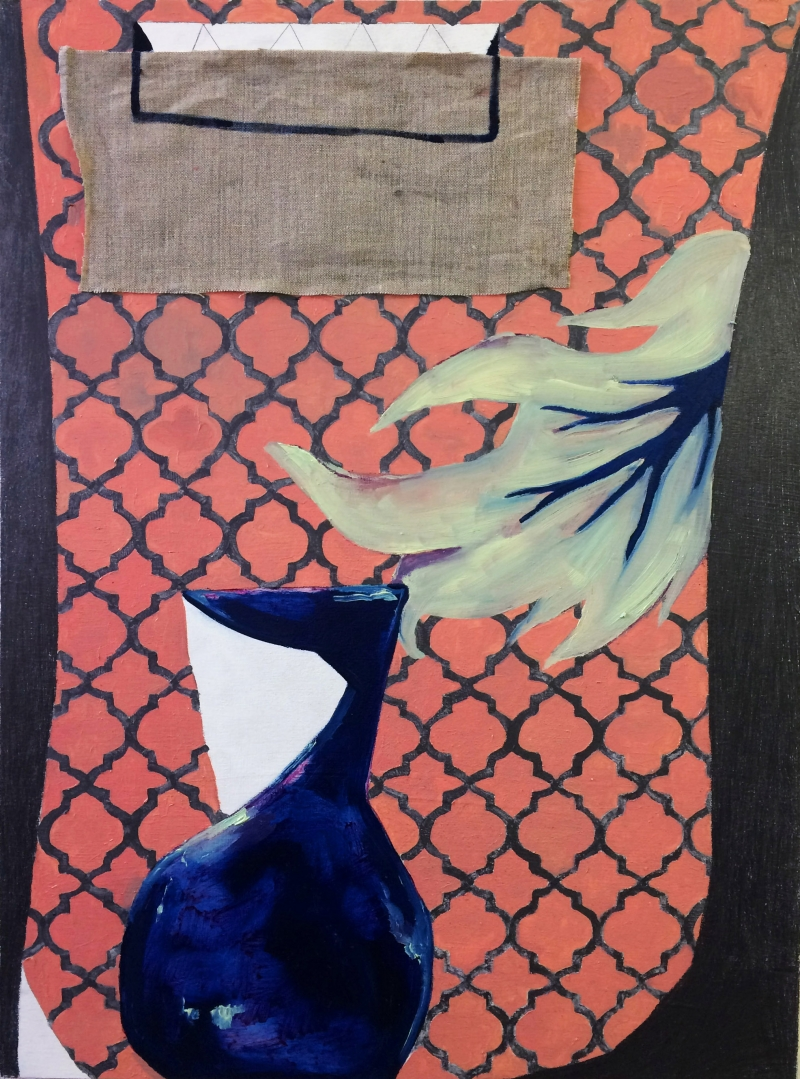 Graphite, oil and linen on panel depicting blue jug and leaf