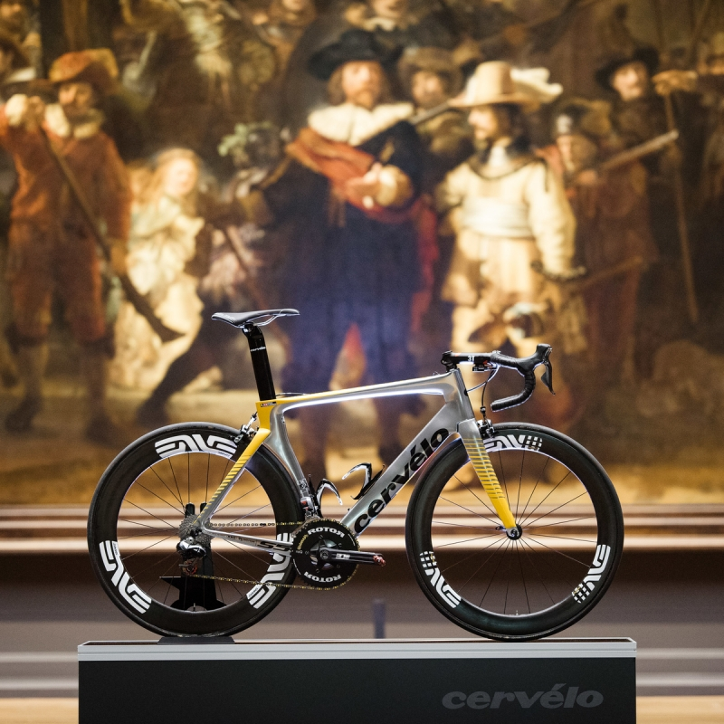Photo of Cervelo Bike at  Rijksmuseum in Amsterdam in front of the Nights Watch by Rembrandt. Photo by Gruber Images.