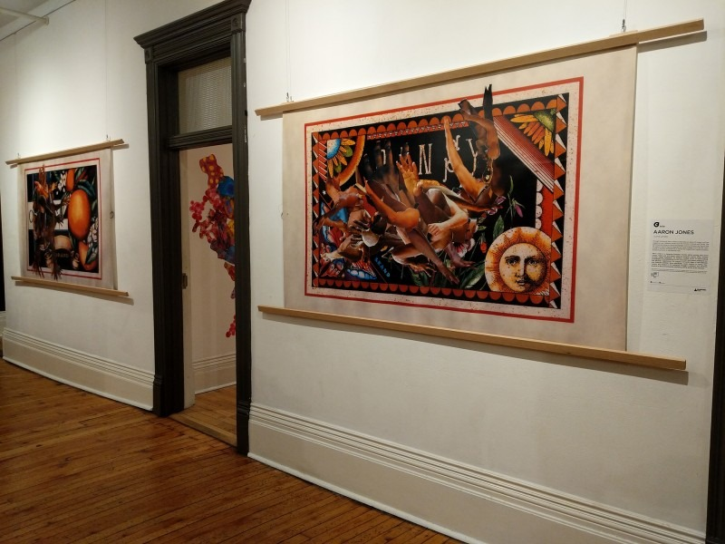 Photo of two large landscape collages with wood frame door in middle