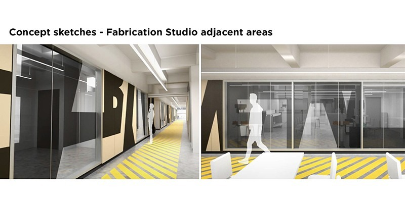 Concept sketches of Fabrication Studio adjacent areas