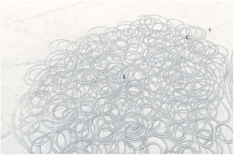 photo of abstract circular patterns on ice with three deer crossing the frame