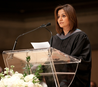 Doaa Khattab addressing her fellow graduates at convocation
