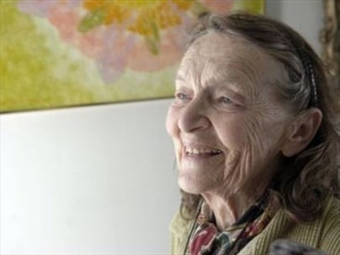 Photo of smiling elderly woman Frances Gage