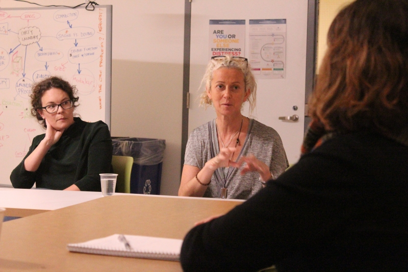 Lorna Ross speaking to Design for Health Students