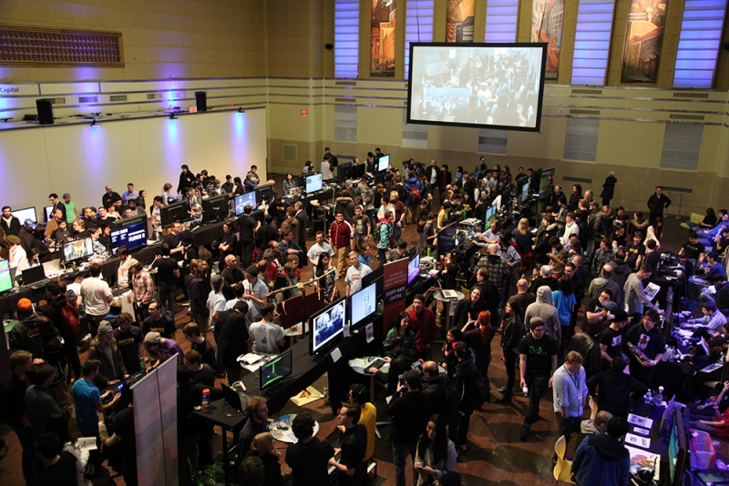 Crowd of people at Level Up Showcase