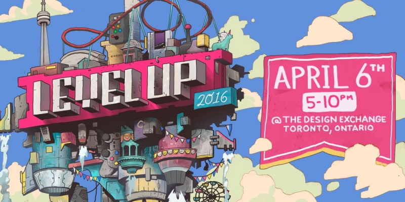 Poster of Level Up Showcase with date listed as April 6 from 5 to 10 p.m.