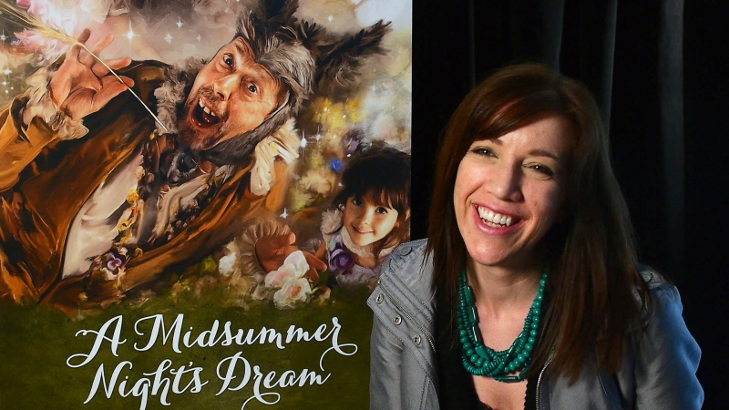 Monica Virtue and Poster of Midsummer Nights Dream at Stratford Festival