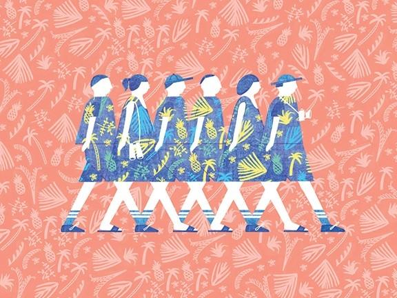 Illustration of women walking