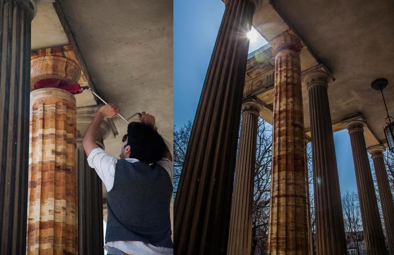 Artist Rouzbeh Akhbari installing his work at the Grange