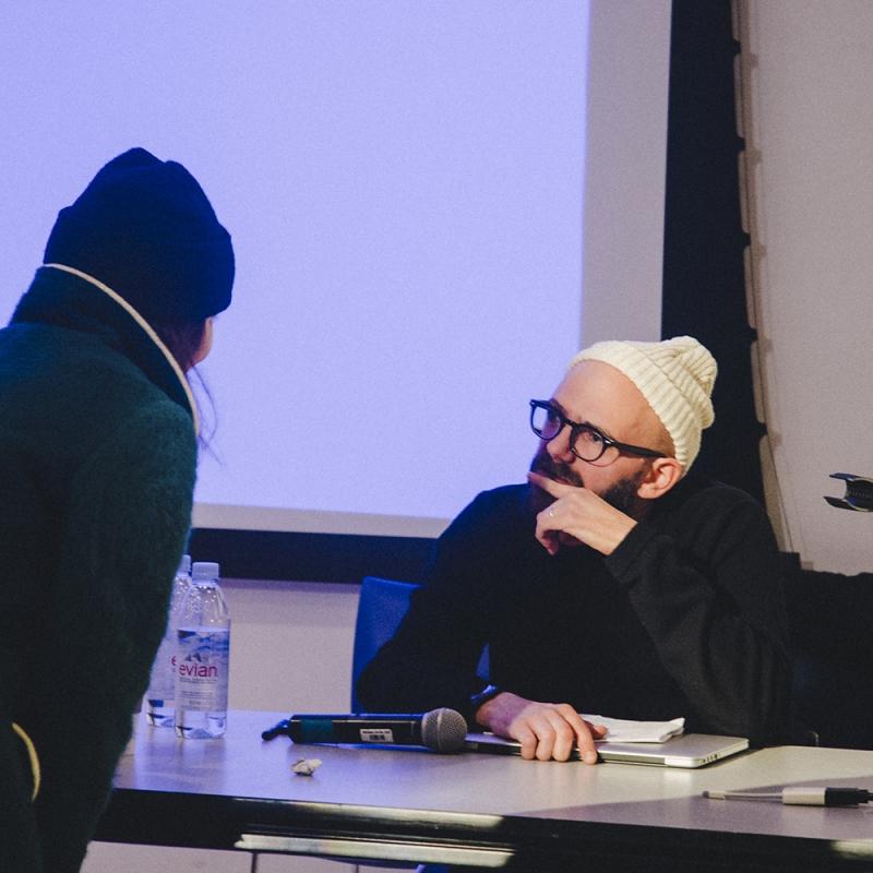 Artist Ryan Gander speaking at lecture