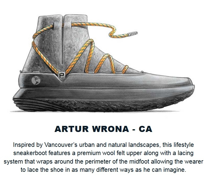 Rendering of sneaker by Artur Wrona, design student